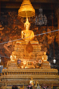 This is a view of a sitting Buddha from inside the temple. All visitors must take their shoes to enter this temple.