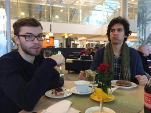 Enjoying a pleasant airport snack