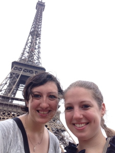 Emma (left) and I in front of the Eiffel Tour