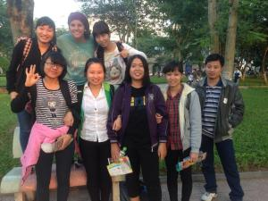 I met many new friends in a park in Hanoi, Vietnam!