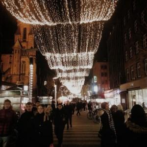 Main pedestrian street with Christmas lights