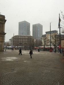 From the Hauptbahnhof in Mainz on a snowy day
