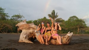 We saw a total of 3 rainbows on this trip, one of which was full, but heres the one on the beach!