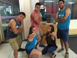 Bro Tank Tuesday is now a thing. Left to right is Hao, Beth (in front), Alex, Makayla (in front), and Daniel. Work it y'all! (Alex and Makayla are also students at UA...represent!