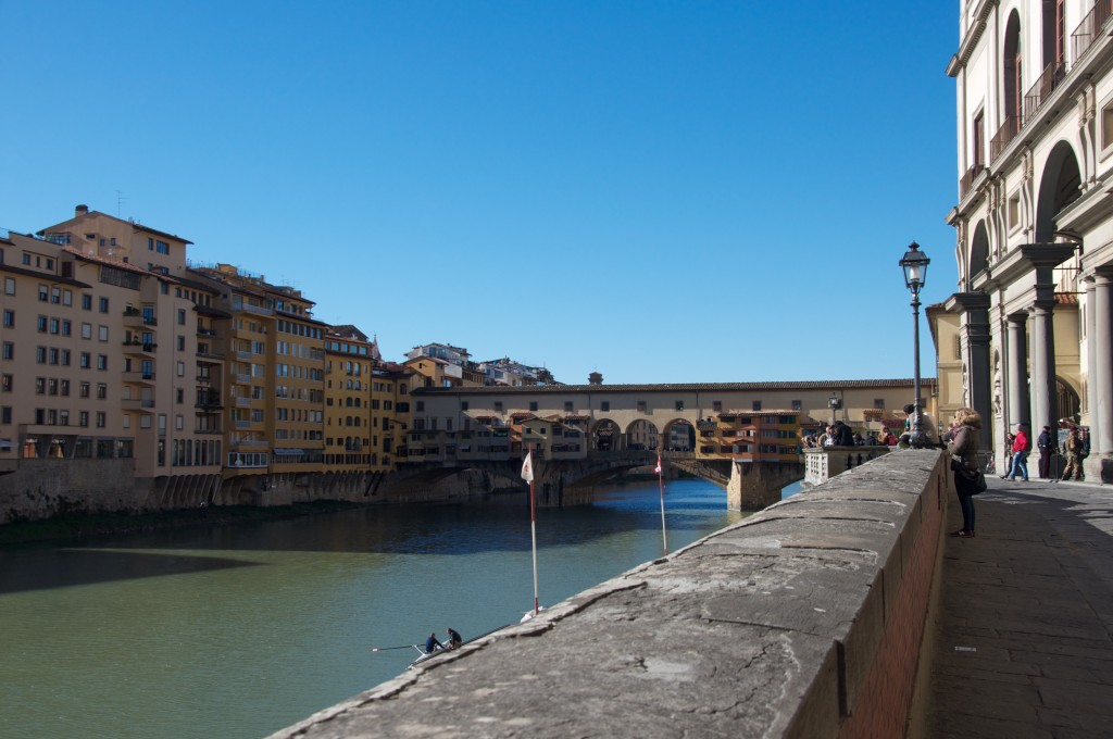 The Ponte Vecchio bridge on the Arno River.