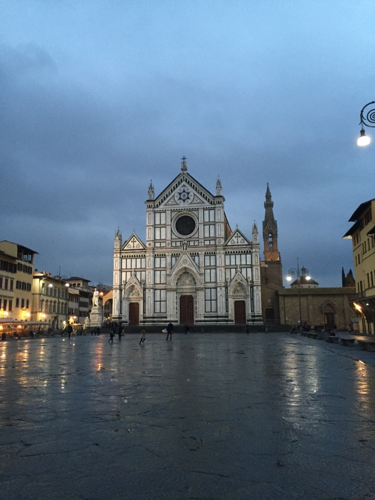 Santa Croce church at night.
