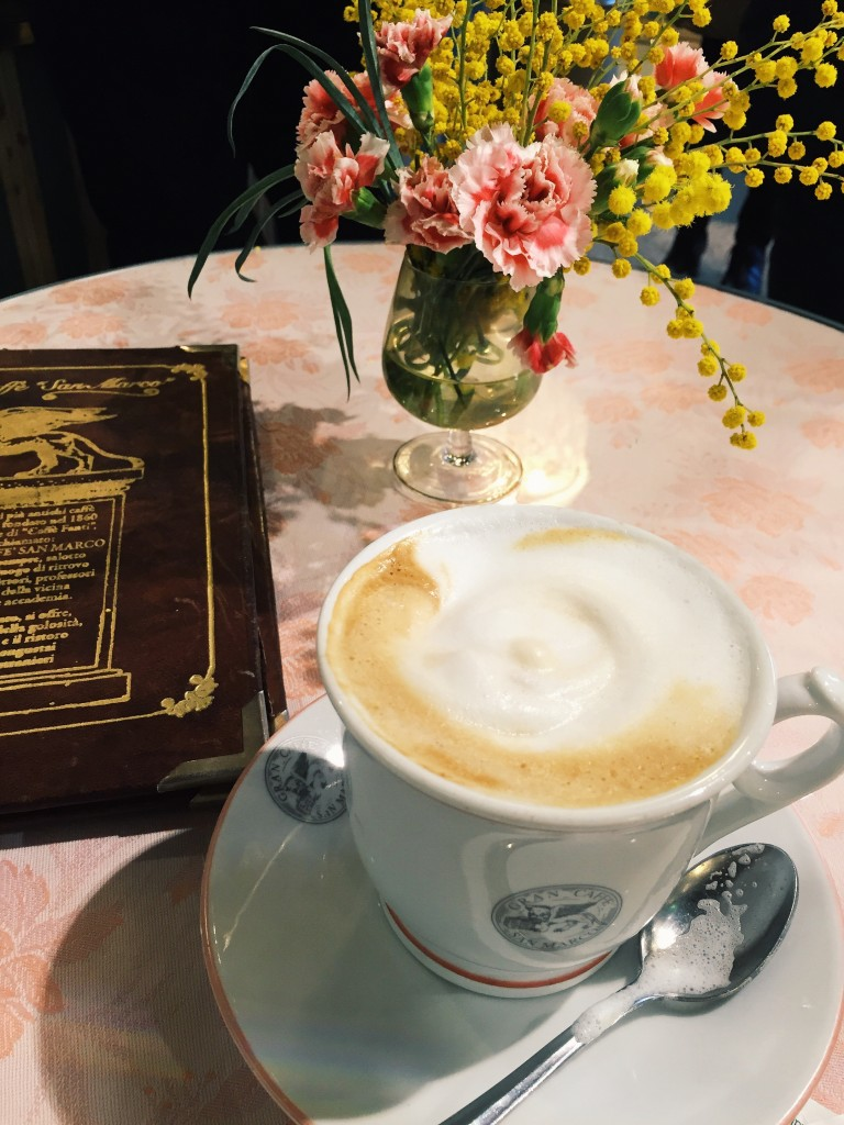 I sometimes grab a cappuccino at the San Marco cafe before going to my Italian class.