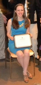 Receiving the Goethe Award for excellence in German Studies in high school