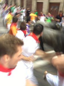 Running with the Bulls in Pamplona, Spain on my birthday