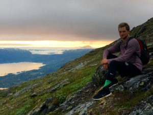 Hiking at 1am in Narvik, Norway with the Midnight Sun at my back